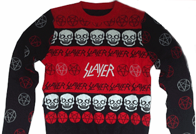 vaguelly represents christmas any excuse to use pom poms i mean even thrash metal band slayer have produced one this year with added use of skulls - Metal Band Christmas Sweaters
